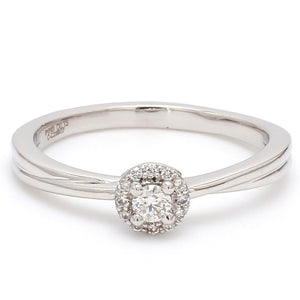 Front View of Platinum Rings with Single Diamonds Ring for Women JL PT 593