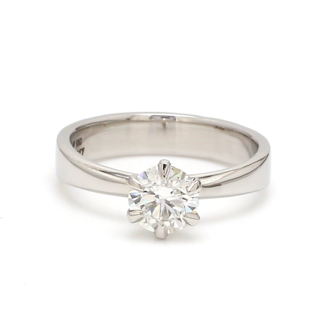 0.70 cts. 6 Prong Tapered Platinum Solitaire Ring JL PT 17