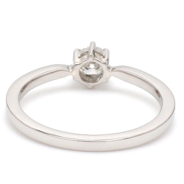 Back View of Customised 25 Pointer Basket 6 Prong Solitaire Ring made in Platinum SKU 0012-A