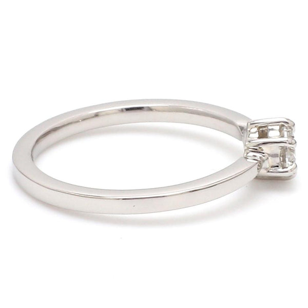 Side View of Customised 25 Pointer Basket 6 Prong Solitaire Ring made in Platinum SKU 0012-A