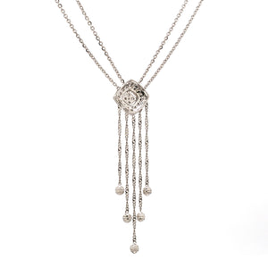 Elegant Platinum Evara Diamond Necklace & Earrings with Diamonds for Women JL PTN 717