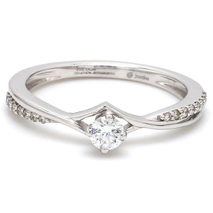 Front View of Platinum Diamond Engagement Ring with 15 Pointer JL PT 573