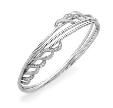 Winding Platinum Wire Bracelet with Diamonds SJ PTB 103 - Suranas Jewelove