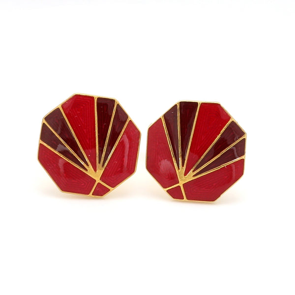 Front View of 925 Silver Cufflinks for Men with Red & Brown Enamel JL AGC 1