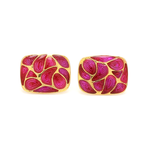 Front View of 925 Silver Cufflinks for Men with Pink Enamel JL AGC 14