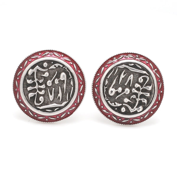 Front View of 925 Silver Cufflinks for Men with Grey & Red Enamel JL AGC 19