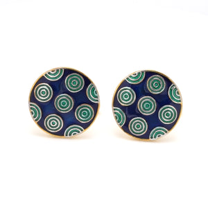Front View of 925 Silver Cufflinks for Men with Blue & Green Enamel JL AGC 20