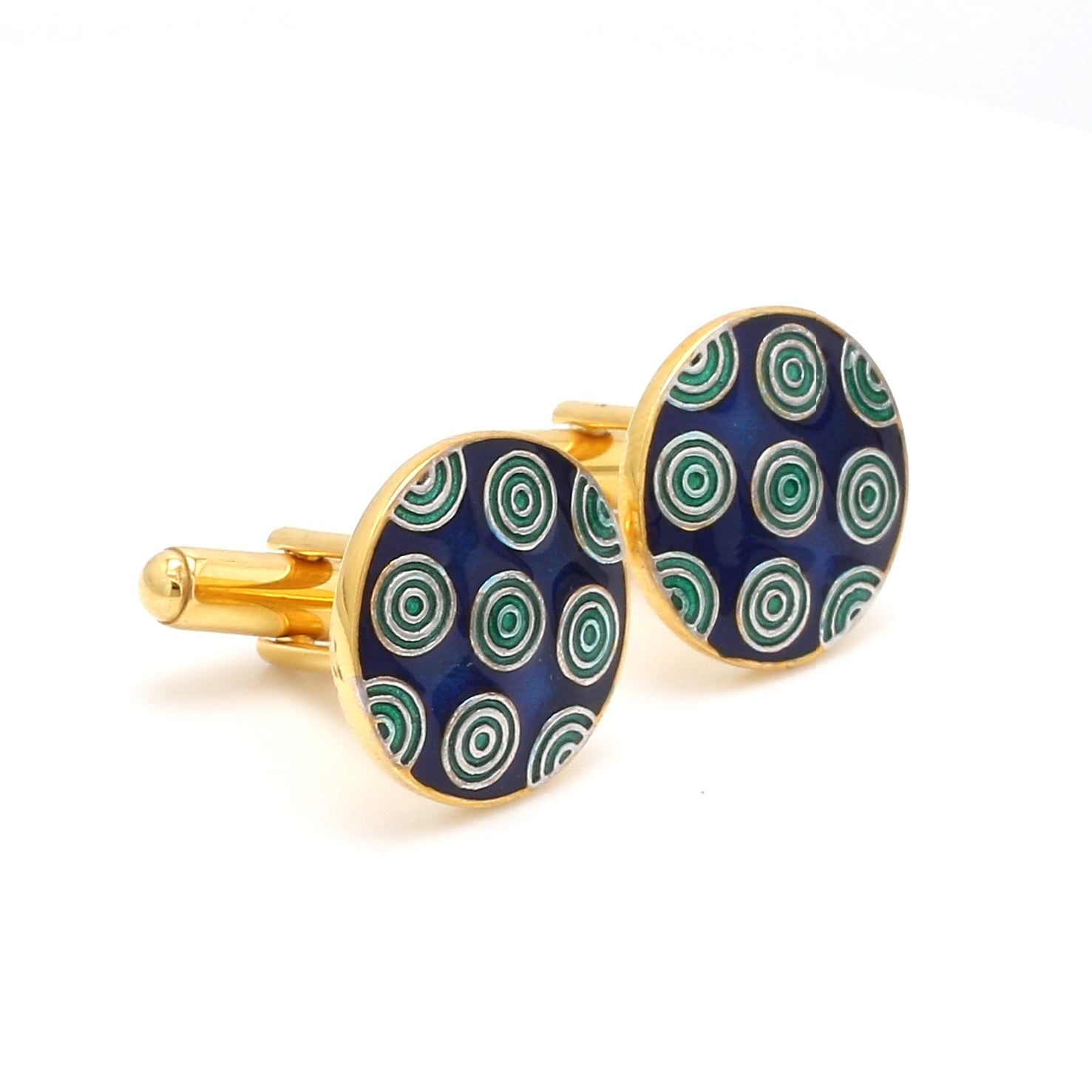 Side View of 925 Silver Cufflinks for Men with Blue & Green Enamel JL AGC 20