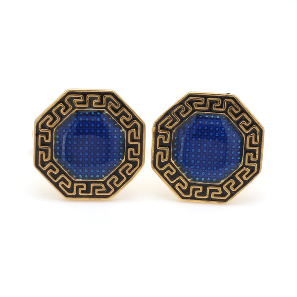 Front View of 925 Silver Cufflinks for Men with Black & Blue Enamel JL AGC 24