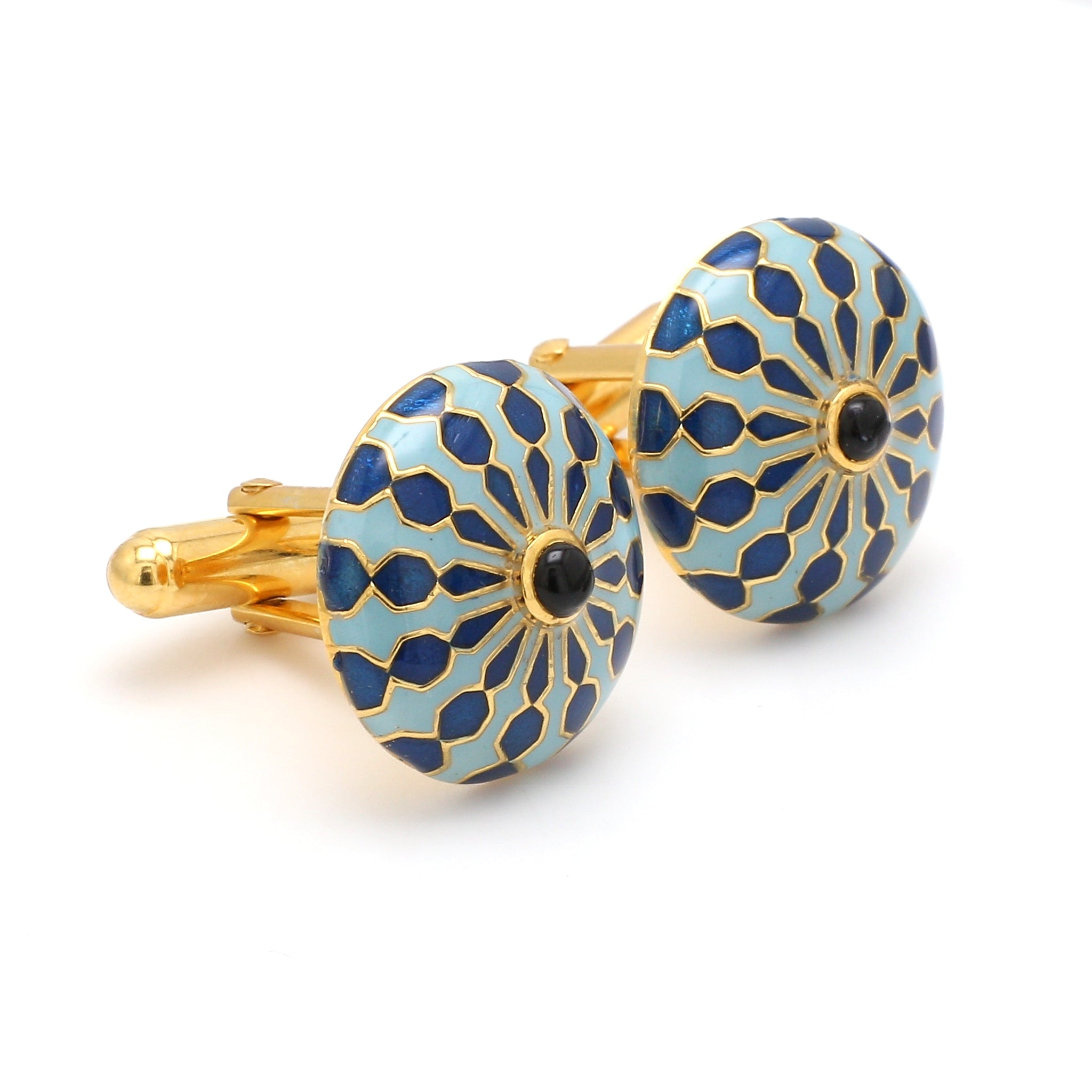 Side View of 925 Silver Cufflinks for Men with Sky Blue, Black & Blue Enamel JL AGC 26