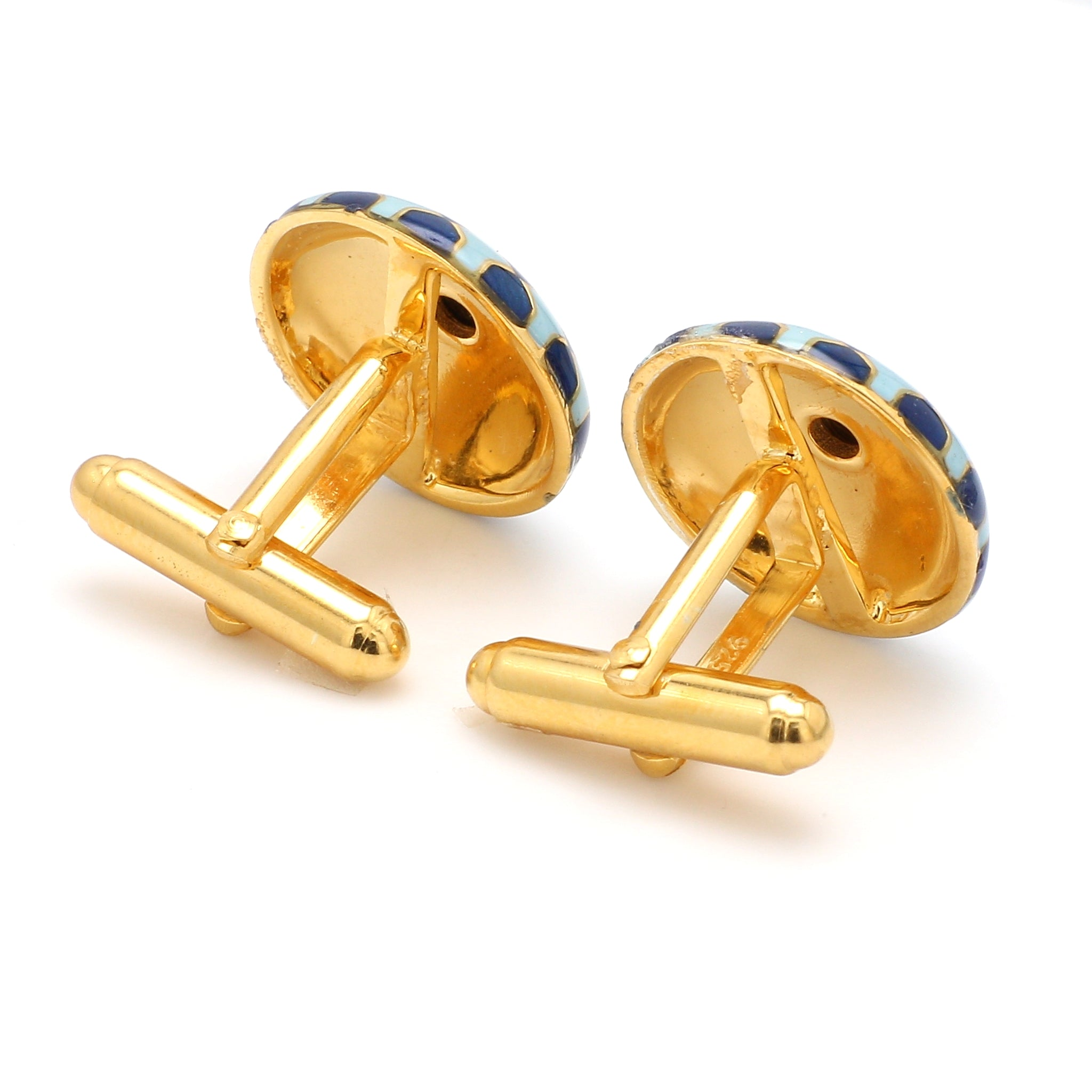 Back View of 925 Silver Cufflinks for Men with Sky Blue, Black & Blue Enamel JL AGC 26