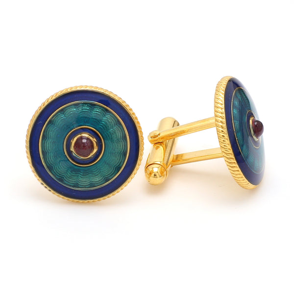 Side View of 925 Silver Cufflinks for Men with Sky Blue, Blue & Red Enamel JL AGC 27