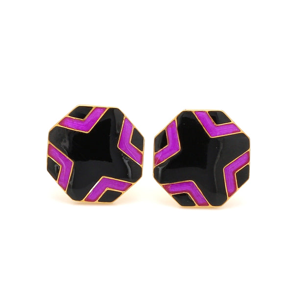 Front View of 925 Silver Cufflinks for Men with Black & Pink Enamel JL AGC 3