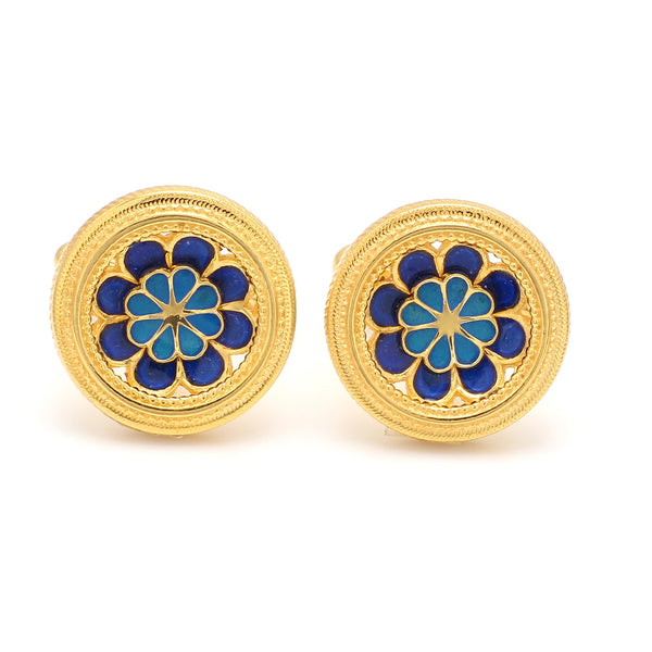 Front View of 925 Silver Cufflinks for Men with Sky Blue & Blue Enamel JL AGC 30