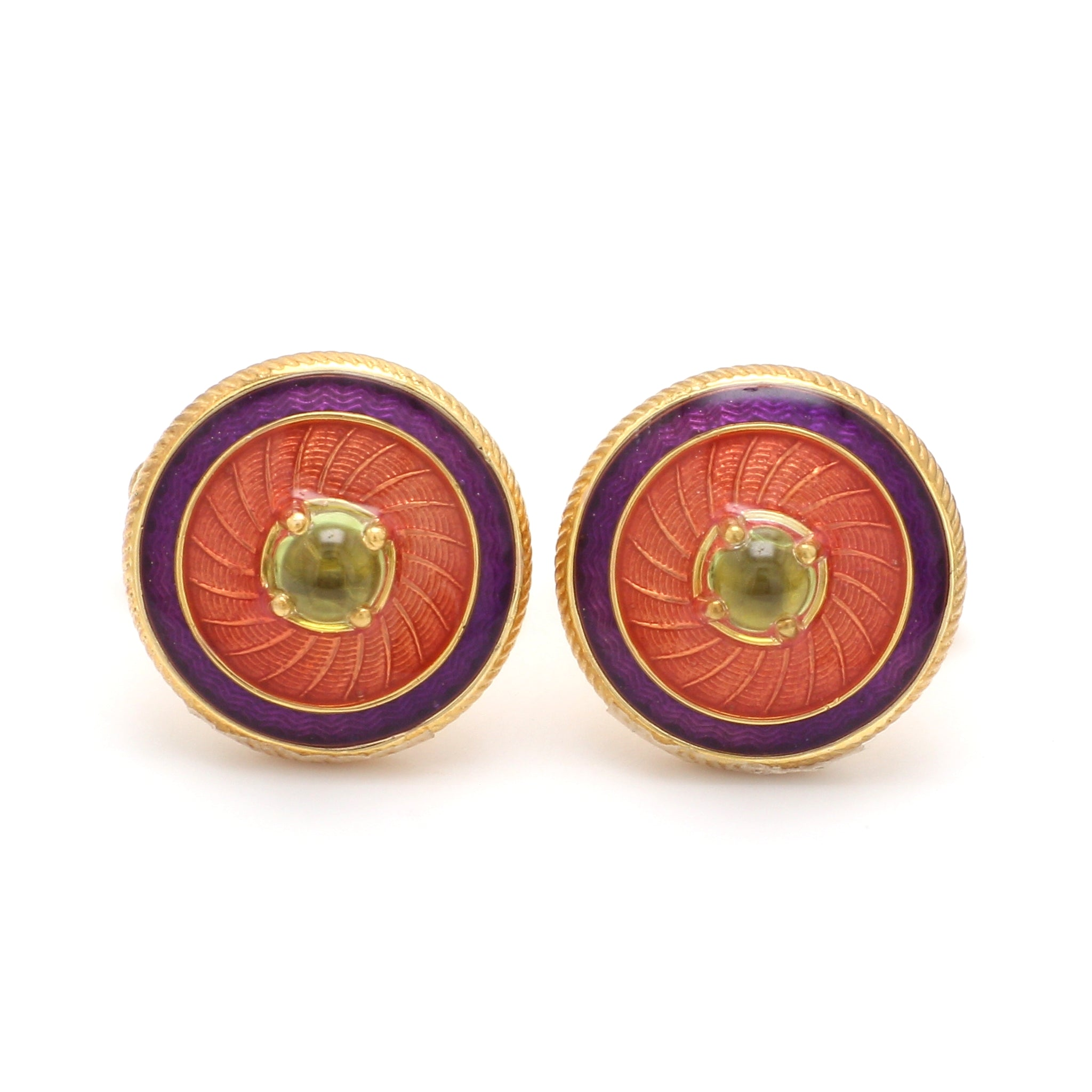 Front View of 925 Silver Cufflinks for Men with Yellow, Purple & Red Enamel JL AGC 31