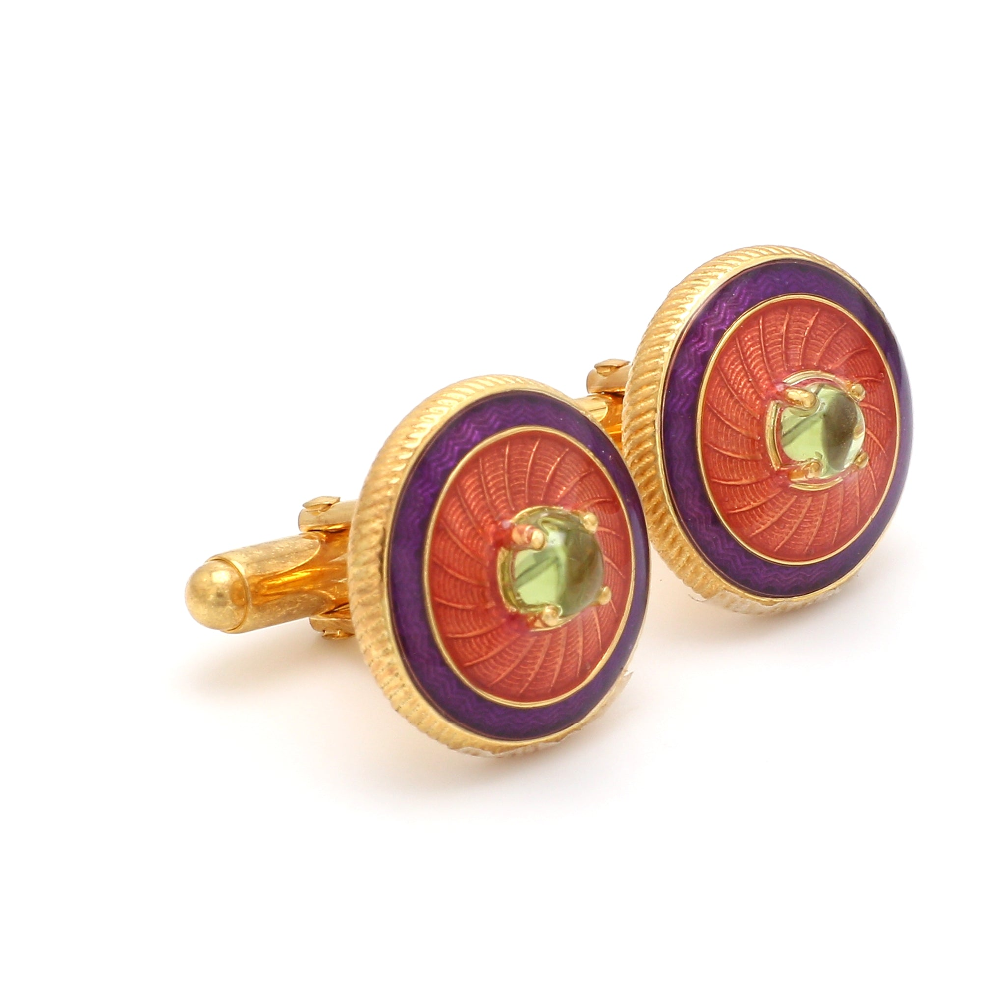 Side View of 925 Silver Cufflinks for Men with Yellow, Purple & Red Enamel JL AGC 31