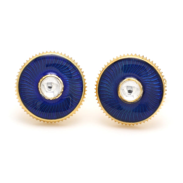 Front View of 925 Silver Cufflinks for Men with White & Blue Enamel JL AGC 32