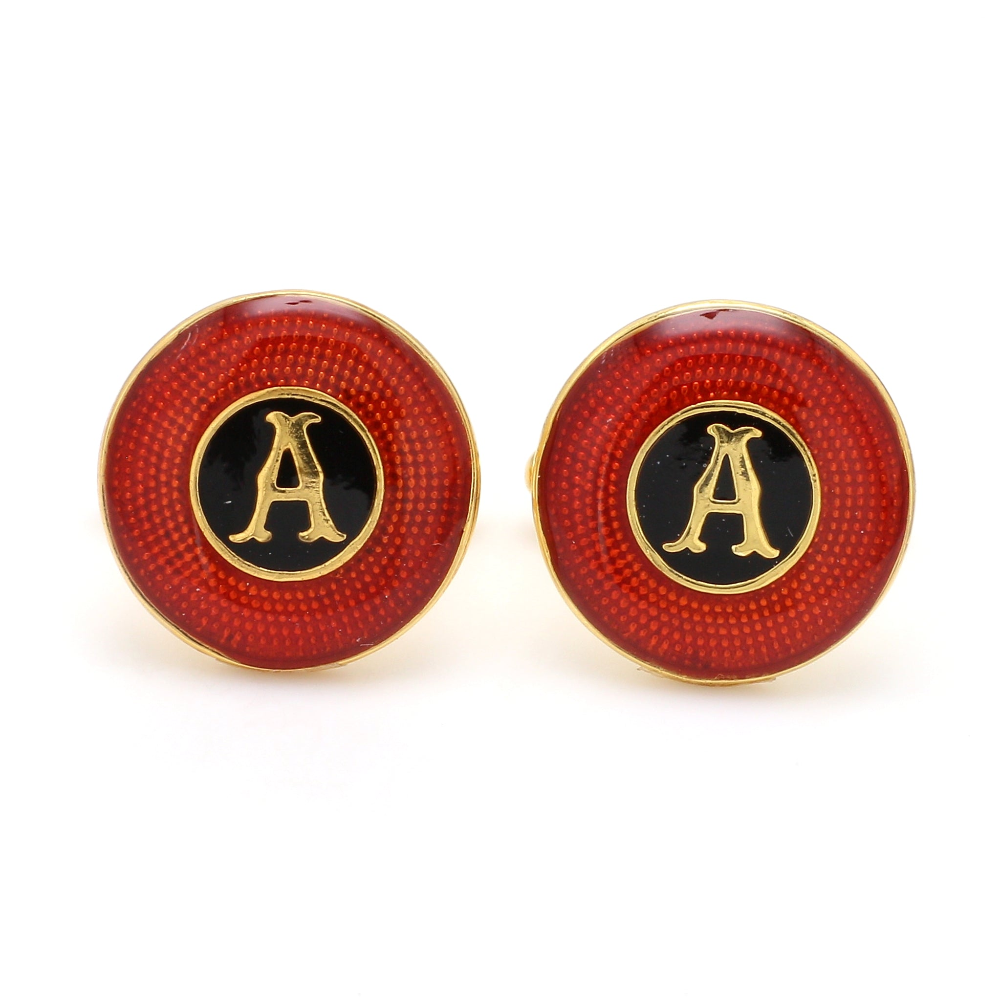 Front View of 925 Silver Cufflinks for Men with Red & Black Enamel JL AGC 36