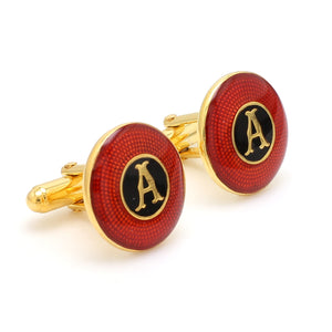 Side View of 925 Silver Cufflinks for Men with Red & Black Enamel JL AGC 36