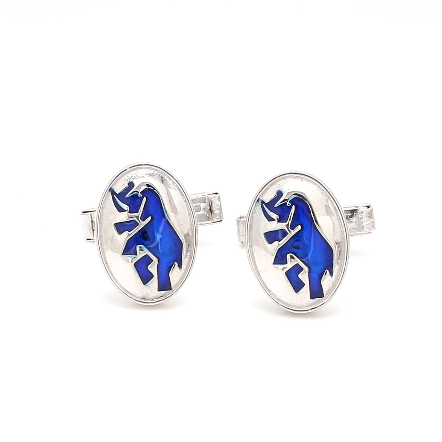 Front View of 925 Silver Cufflinks for Men with Blue Enamel JL AGC 5