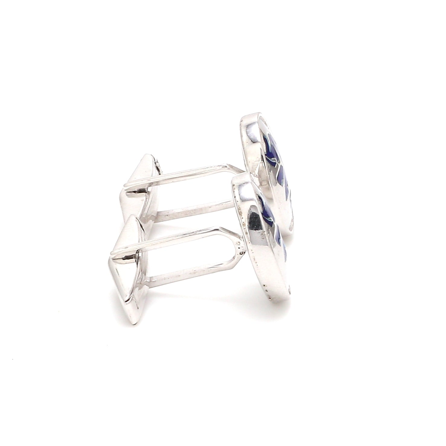 Side View of 925 Silver Cufflinks for Men with Blue Enamel JL AGC 5