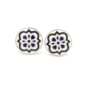 Front View of 925 Silver Cufflinks for Men with Black & Blue Enamel JL AGC 7