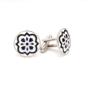 Side View of 925 Silver Cufflinks for Men with Black & Blue Enamel JL AGC 7