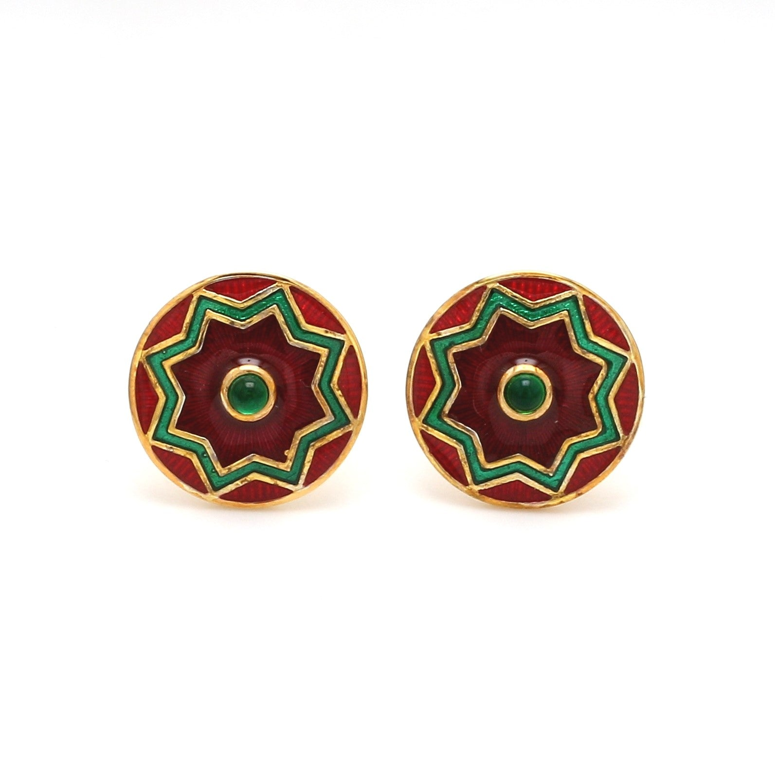 Front View of 925 Silver Cufflinks for Men with Red & Green Enamel JL AGC 8