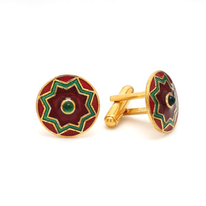 Side View of 925 Silver Cufflinks for Men with Red & Green Enamel JL AGC 8