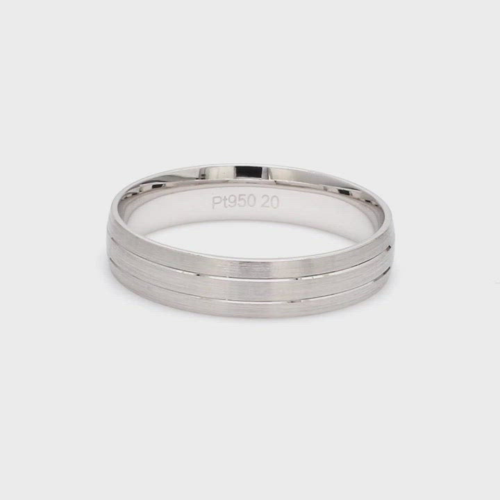 Japanese Platinum Love Bands with 2 Sleek Grooves JL PT 535