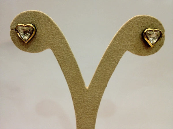 Heart Shape Uncut Diamond Solitaire Polki Earrings in India