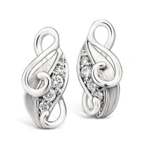 Platinum Earrings designed as Leaves SJ PTO E 108 - Suranas Jewelove  - 1