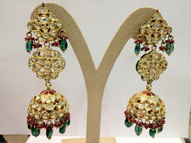 Statement Jewelry Earrings with Diamond Polki and Emeralds by Suranas Jewelove - Suranas Jewelove