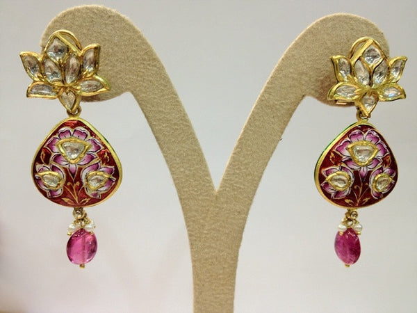 The Pink Lotus Earring Pair by Suranas Jewelove - Suranas Jewelove