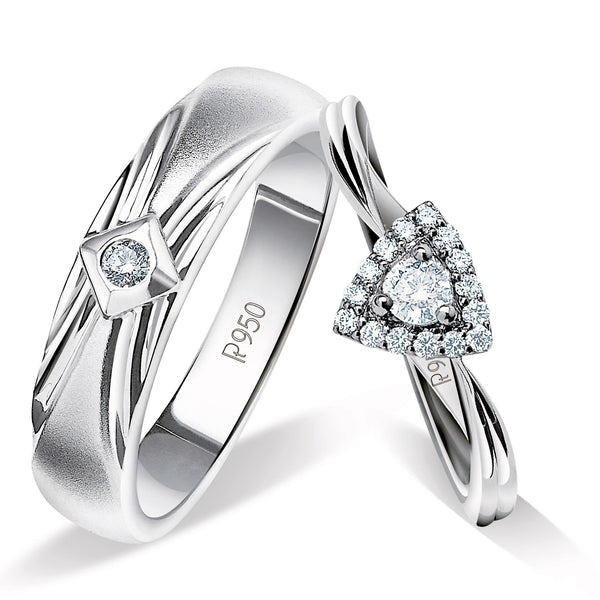 Beautiful Platinum Love Bands with Diamonds JL PT 903