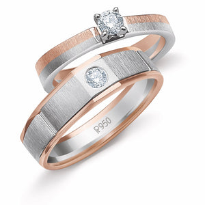 Platinum & Rose Gold Couple Rings with Solitaires JL PT 901