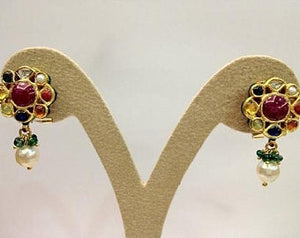 Traditional Indian Navrattan Earrings with Uncut Diamond Polki by Jewelove