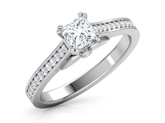 Customised Princess Cut Solitaire Engagement Ring in Platinum with Diamond Studded Shank  JL PT 487