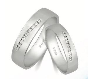 Designer Platinum Love Bands with Diamonds JL PT 597-A