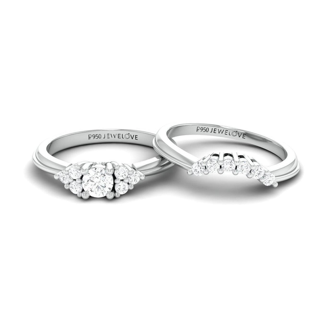 Spark of Love - Platinum Couple Rings with Diamonds JL PT 600