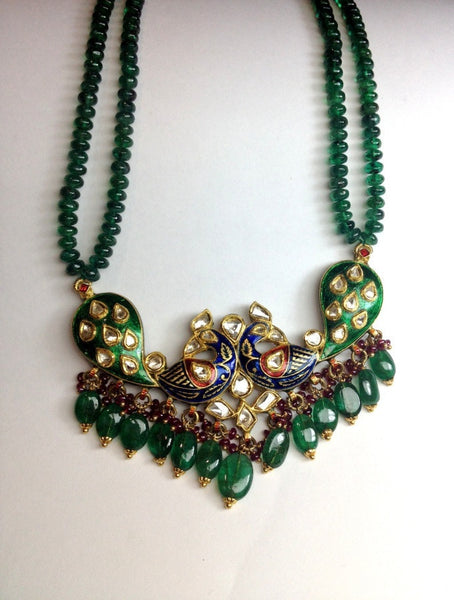 Nature inspired peacock tanmaniya pendant set by Suranas Jewelove - Suranas Jewelove