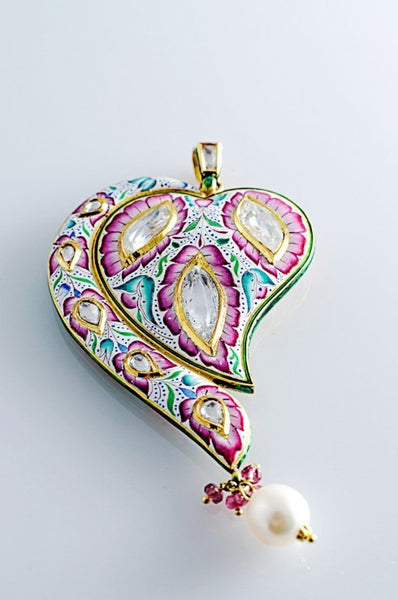 Pink and Cyan Enamel Diamond Polki Pendant by Suranas Jewelove - Suranas Jewelove  - 1
