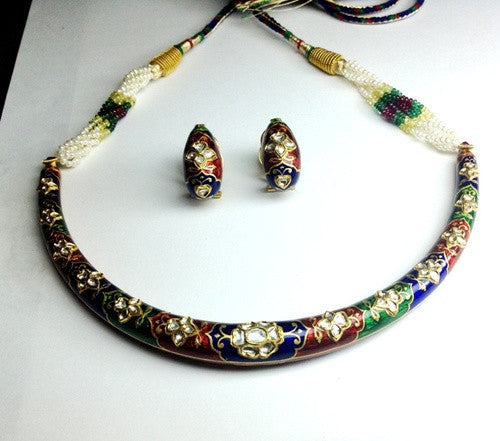 Tri-Color Meena Hasli with Uncut Diamond Polki by Suranas Jewelove - Suranas Jewelove