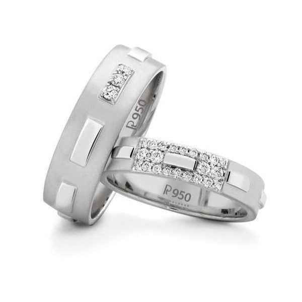 Designer Platinum Love Bands with Diamonds SJ PTO 121 in India