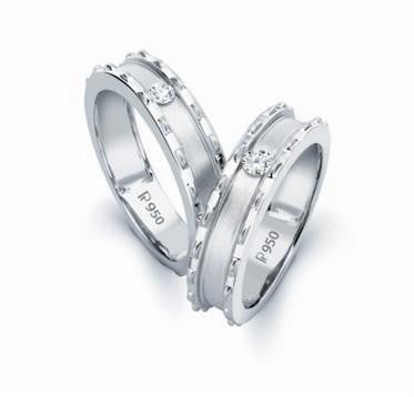 Designer Platinum Love Bands with Single Diamonds SJ PTO 109 in India