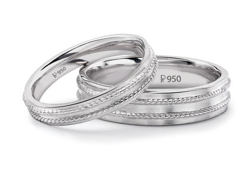 Hi-polish Rope style Platinum Love Bands SJ PTO 114 in India