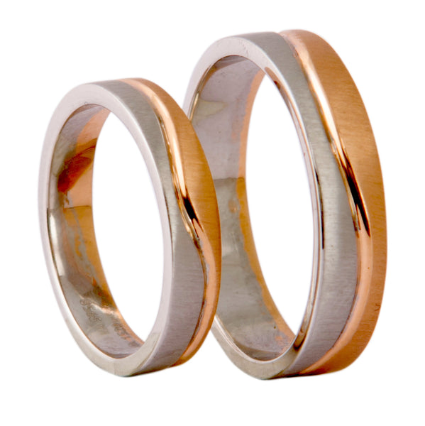 Plain Platinum & Rose Gold Couple Rings with a Wave JL PT 403 - Suranas Jewelove  - 3