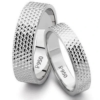 Platinum Love Bands with Diamond Cut JL PT 123