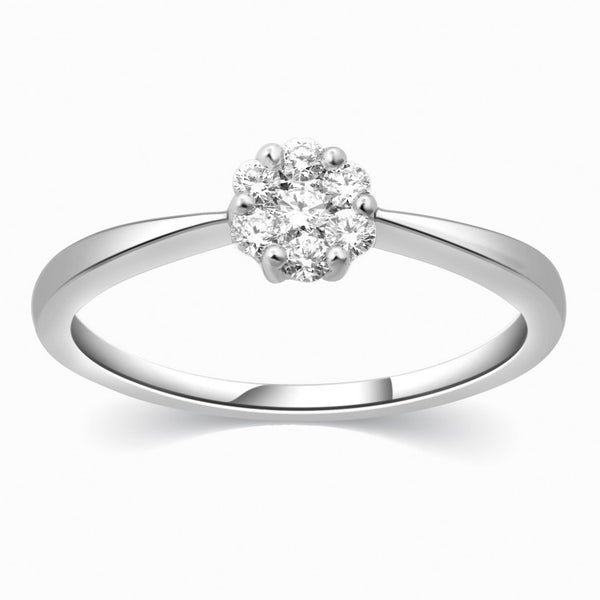 Platinum Ring with Seven Diamonds for Women SJ PTO 305 - Suranas Jewelove