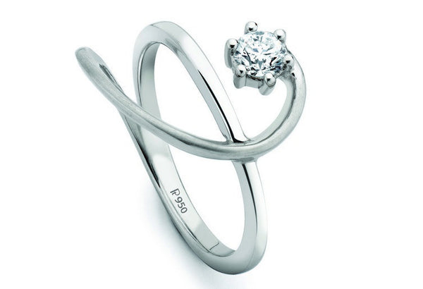 Platinum Solitaire Ring for Women SJ PTO 206 - Suranas Jewelove